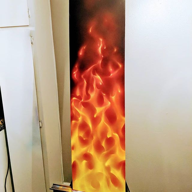 So I just decided to spend an hour painting this panel ..for fun and practice checking out these candy h2O colors from created ..not bad for some fire action 🔥🔥🔥🥵 . . . . . #airbrush #airbrushart #truefire #flame #flameart #airbrushing #color #panel #trueflames #candy #candycoated #redfire #yourmomsfavoriteartist #akayourgirlfriendsfavourite #imatbatmanscave #myhashtagsareonfire