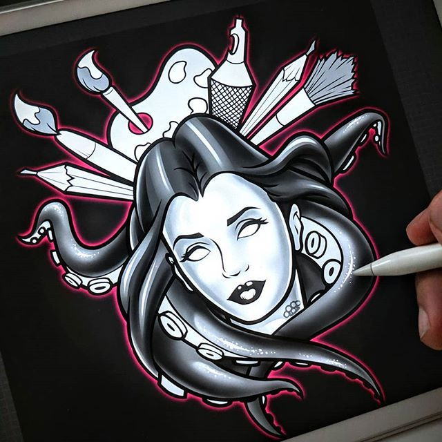 Late night projects... It's still WIP.. a logo illustration for my tattoo girl @deafink 💉🎨 . . . . . . . . . . #illustration #artist #logo #tattoo #octopus #tattoogirl #drawing #ipad #procreate #digitalIllustration #digitalpainting #enokone
