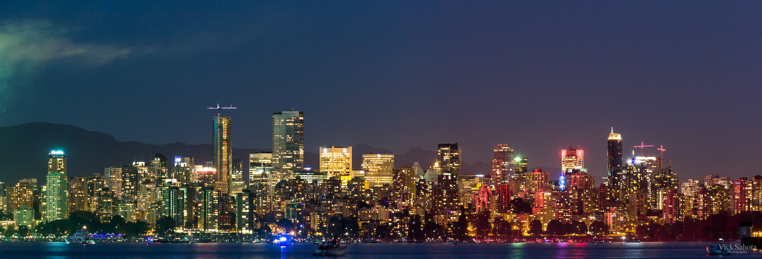 Downtown Vancouver from Jericho Beach lit up by Fireworks