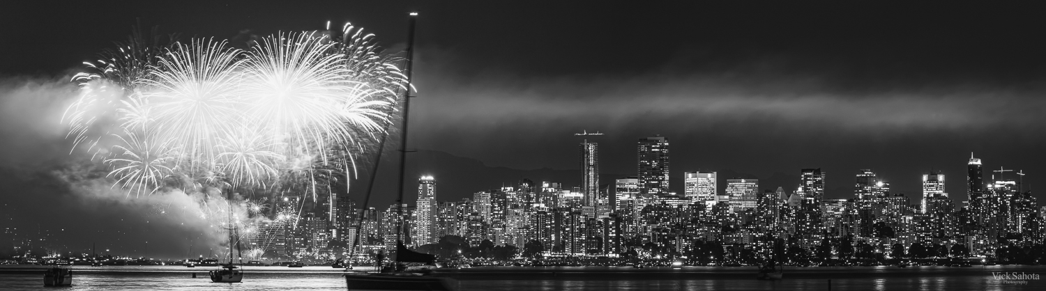 Downtown Vancouver with a Firework Burst