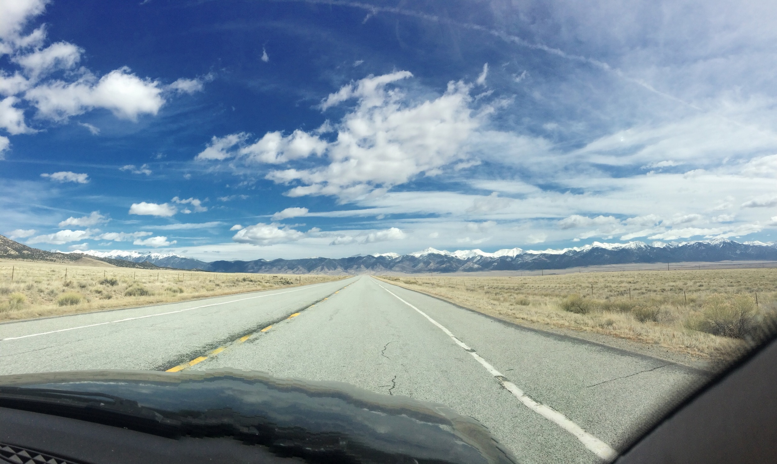 This is what happens when you take an iPhone pano in a car moving at 80 mph.