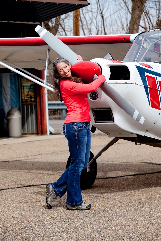 "Marijke, ""Flygirl"", my friend a pilot for this trip"