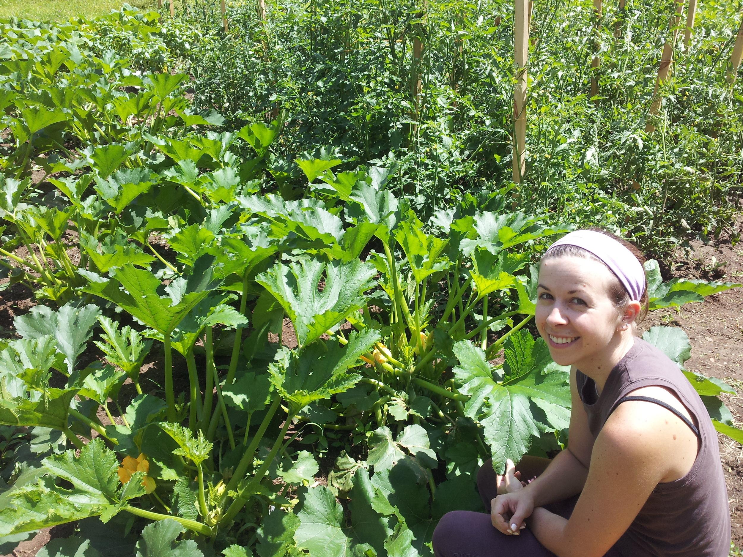 Amy tends the garden