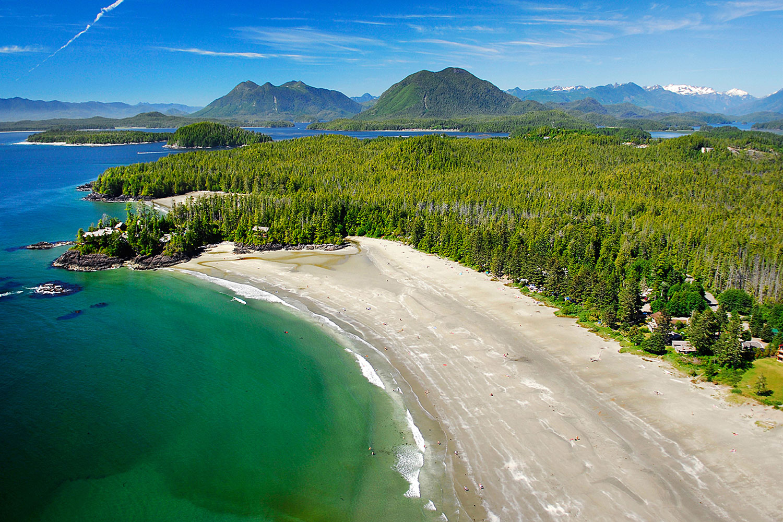 Aerial photo of MacKenzie Beach, Vancouver Island, BC