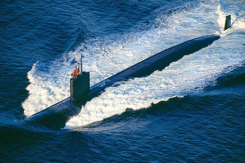 Aerial photo of submarine Nanoose Bay, BC