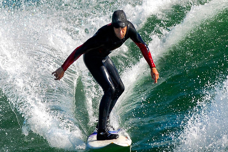 Aerial photo of surfer Tofino, Vancouver Island, BC