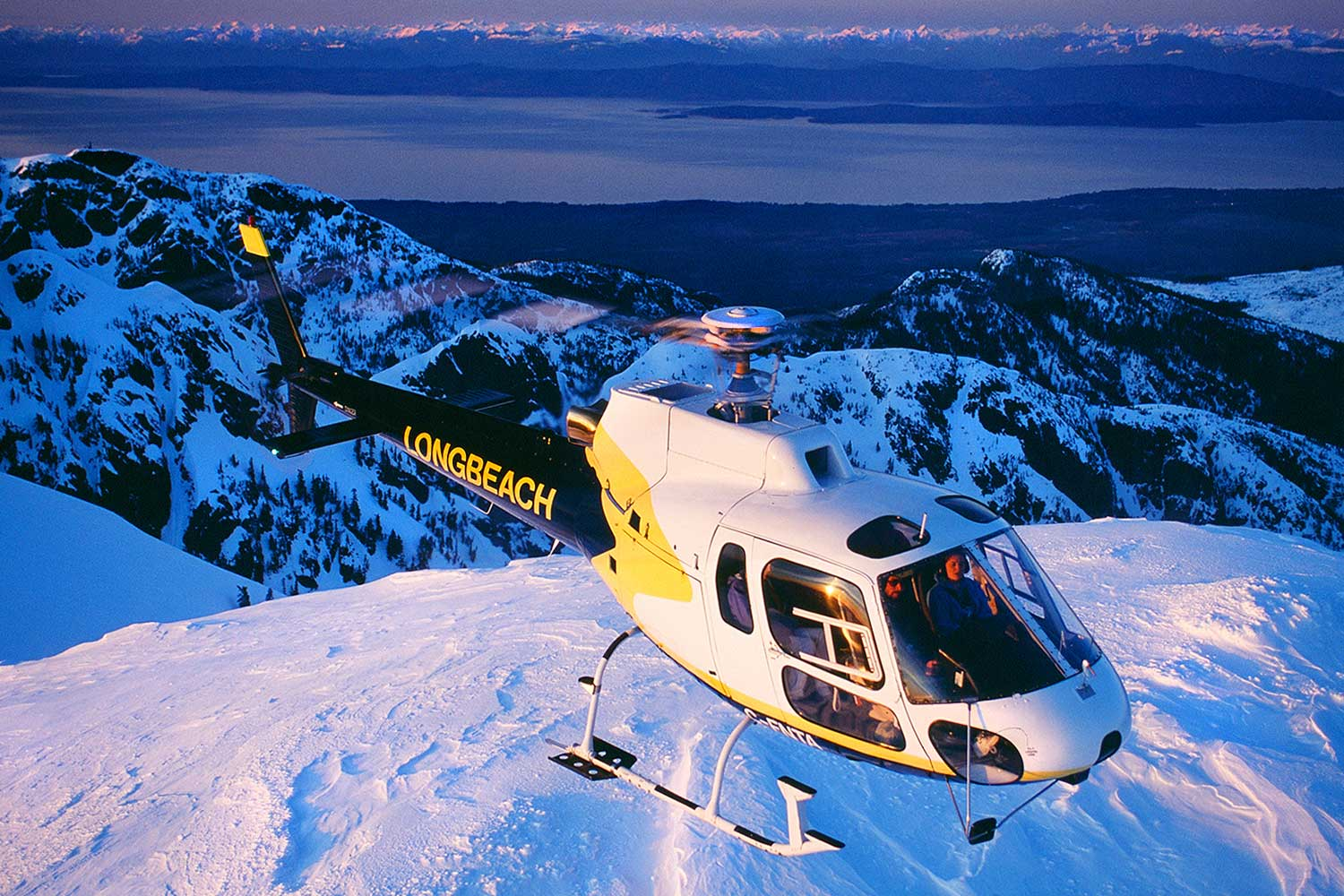 Aerial photo of helicopter, Vancouver Island, BC