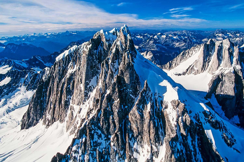 Aerial photo of Mt. Waddington, BC