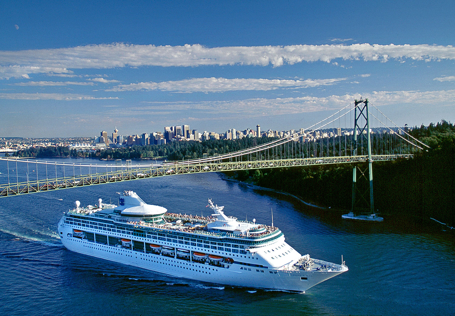 Aerial photo of Legend of the Seas departing Vancouver, BC
