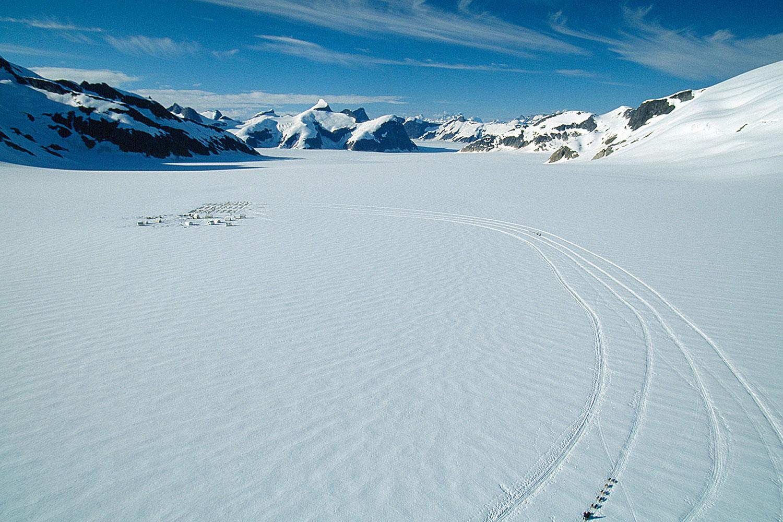 Aerial photo of Glacier Dog Sledding, Alaska