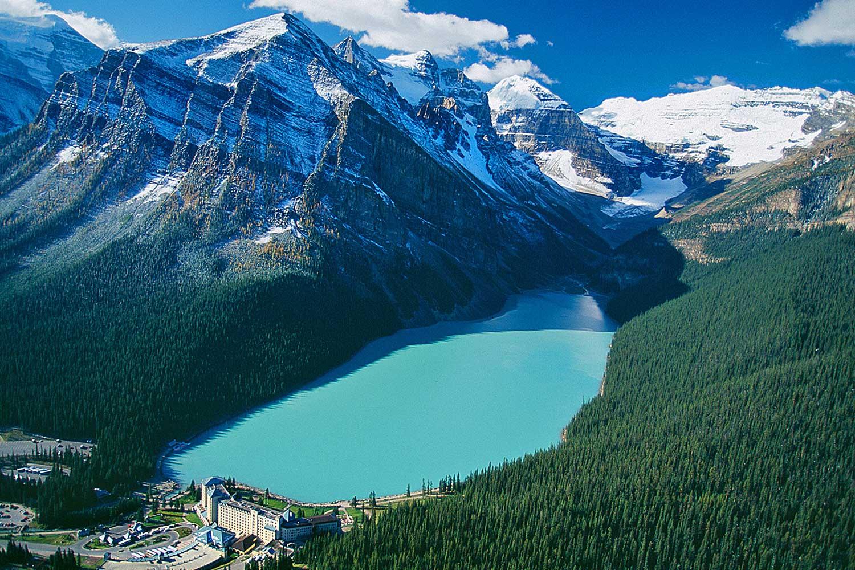 Aerial photo of Lake Louise, Alberta