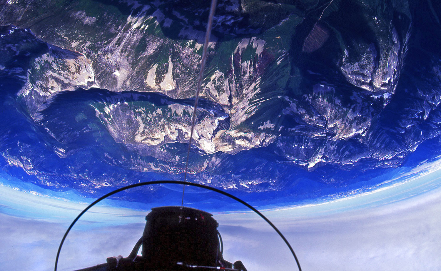 Inverted flight over the Rockies in a Lockheed T-33 jet fighter