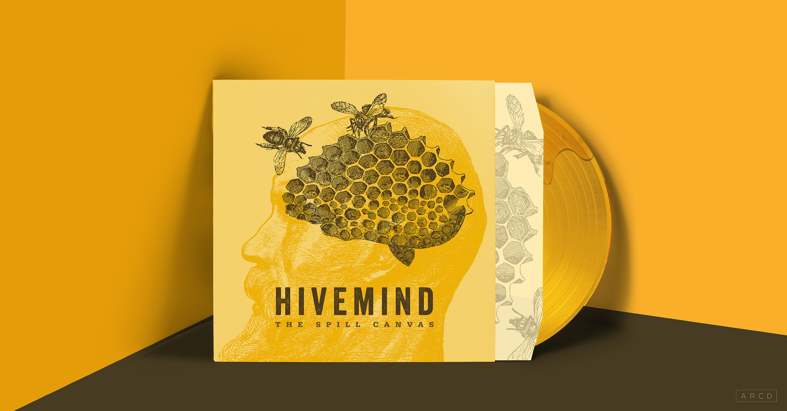 "The album cover features a honeycomb in the shape of a brain (or is it a brain in the shape of a honeycomb?), with two bees circling the outside. The two bees are representative of the duality of personality — the inner motivator and the inner saboteur, two characters that have a huge tug-of-war in the lyrics of this album. This ""bee-brain"" design takes place in the silhouette of an ancient philosopher, (Even/especially the most elevated of minds have the most tormented brains.) The inside sleeve features a fully blown-out wrap of the honeycomb texture, while the record is translucent gold, with real honey drips pressed into the vinyl itself."