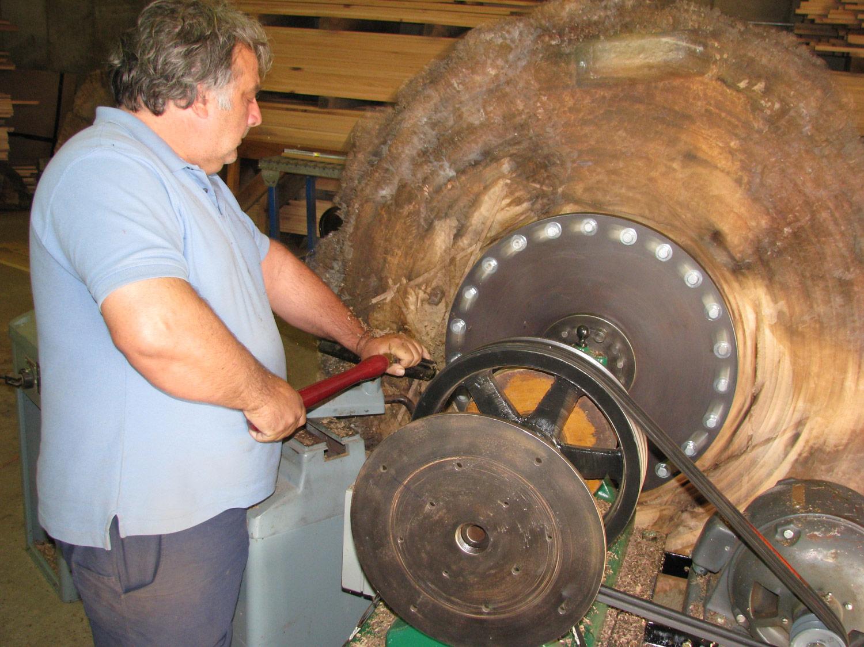 Allan Shope turning underside cut of giant walnut bowl
