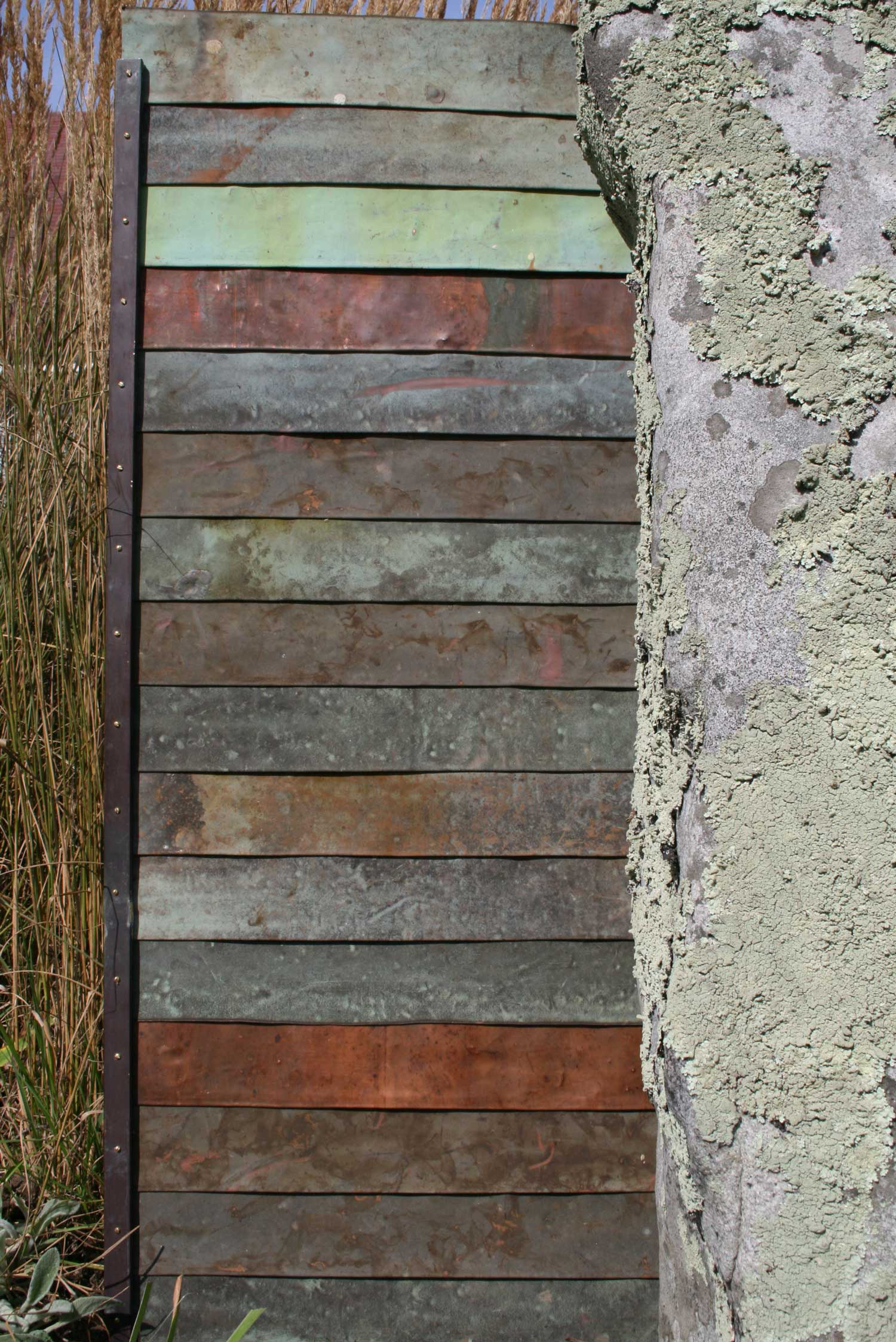 Modern vernacular - reused copper and stone palette for house in Livingston NY