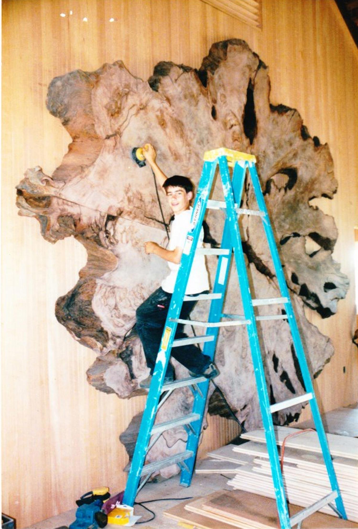 Ben Shope sanding redwood crosscut