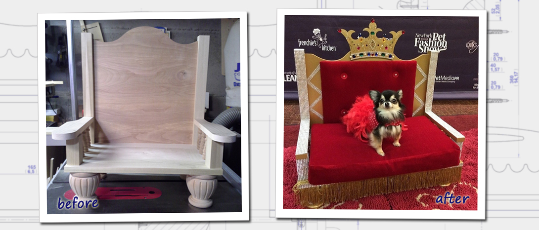 Shown here is our before and after photo of our Throne Chair, featured in the New York Pet Fashion Show.