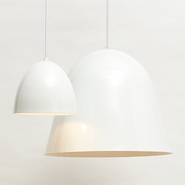 capitol small white bell pendant light CB2 Exclusive $129.00