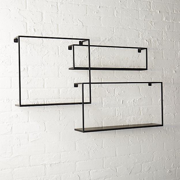matte black floating shelves set of 3 CB2 Exclusive $99.95