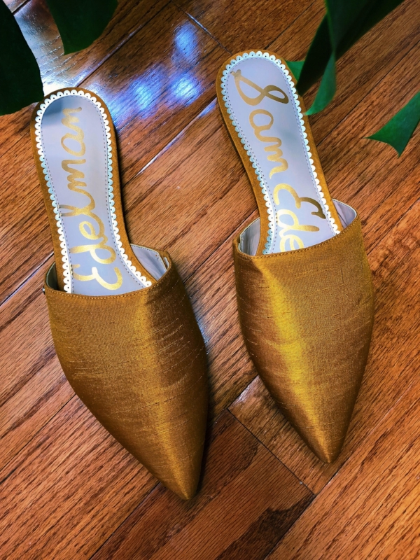 Sam Edelman Rumi Dupion Slippers in Gold Yellow