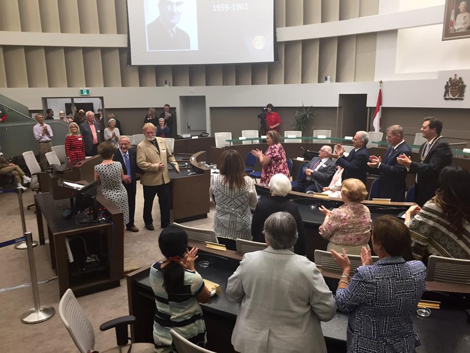 Barrie's first Mayor, Williard Kinzie receiving a standing ovation at the launch of the Barrie Historical Archive at Barrie City Hall, Setember 21st, 2016.
