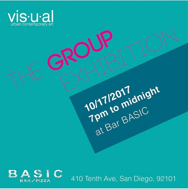 Visual: The Group Exhibition - Group art show exhibiting work of over 20 local artists using various media.Bar BASIC, San Diego, CAOctober, 2017