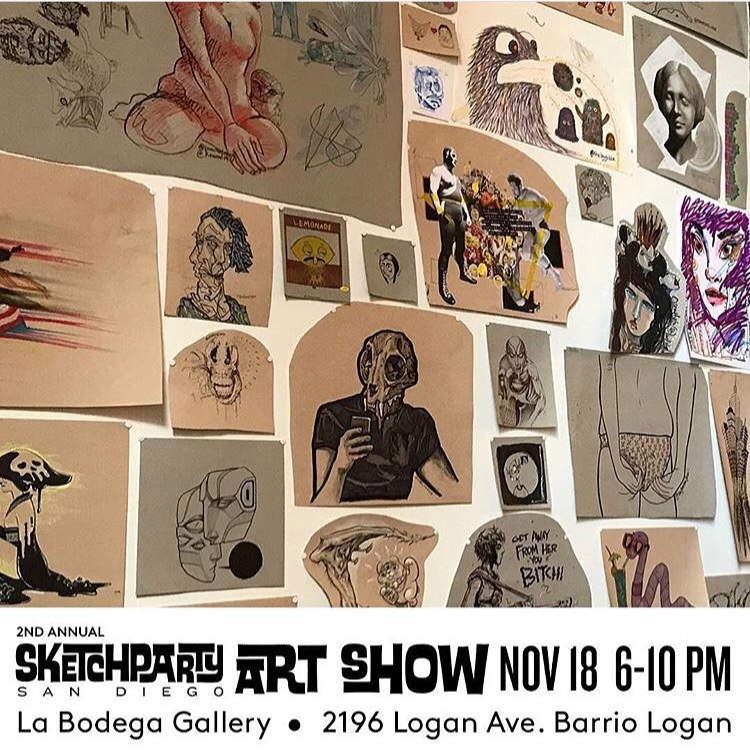 SketchpartySD 2nd Annual Art Show - Group exhibition of hundreds of local artists from the biweekly SketchpartySD events. Proceeds from the show were donated to buy more supplies to support the SketchpartySD community.La Bodega Gallery, San Diego, CANovember, 2017