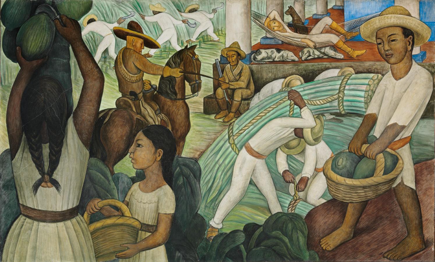 - Sugarcane, 1931, mural, fresco on concrete, Diego Rivera (1886-1957).