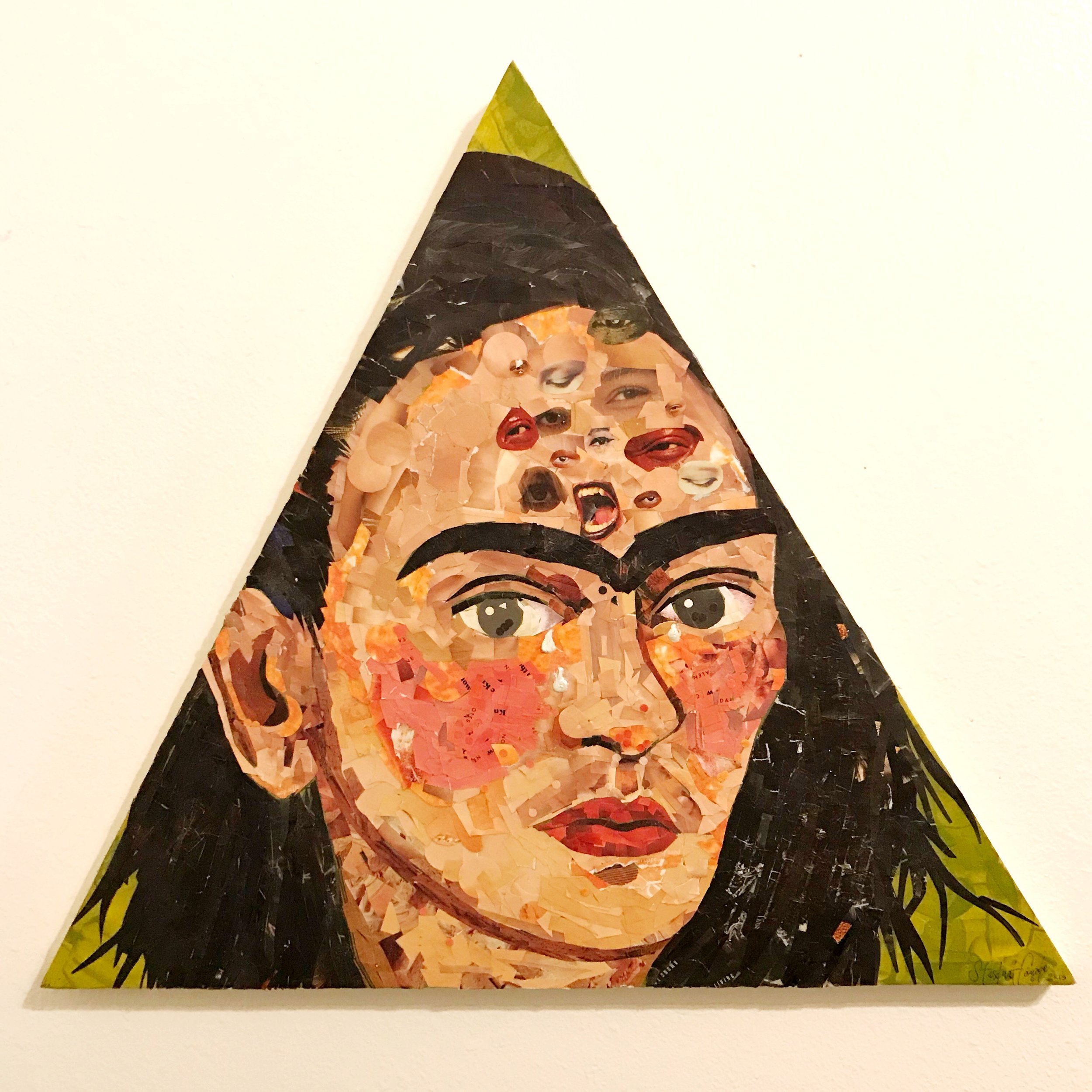 "Frida: Tautology , collage and mixed media on wood, 24"" x 24"", 2019"