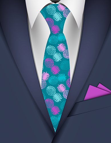 Momona Pineapple Hawaiian Necktie