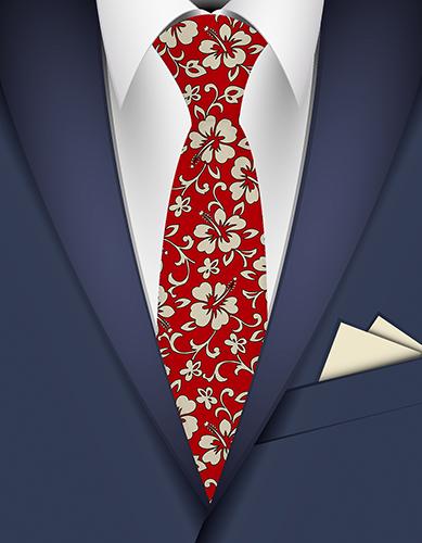 Malia Hibiscus Hawaiian Necktie