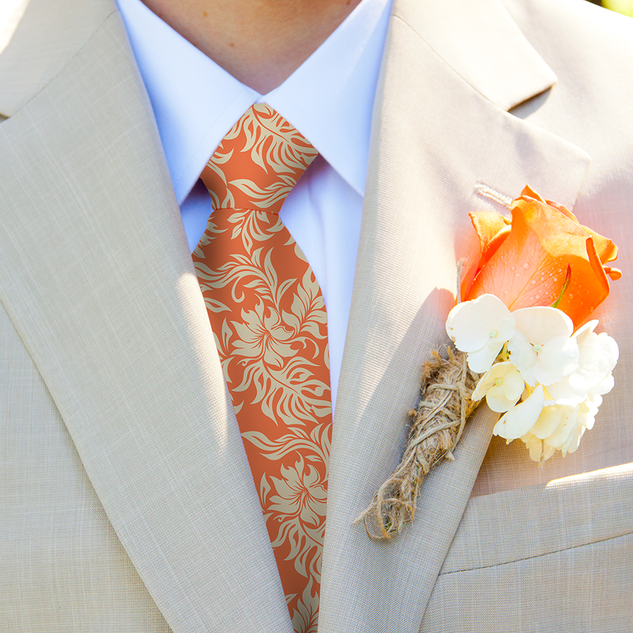 Custom Hawaiian neckties for your groom and wedding groomsmen.