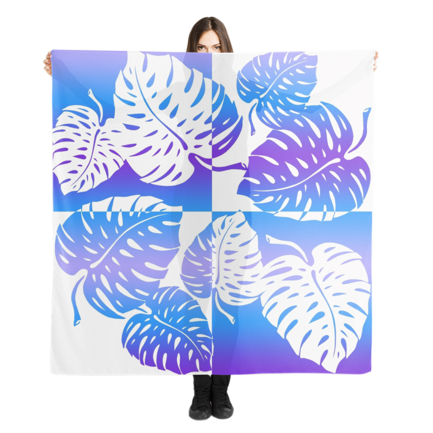 Makua Monstera Scarf in Purple