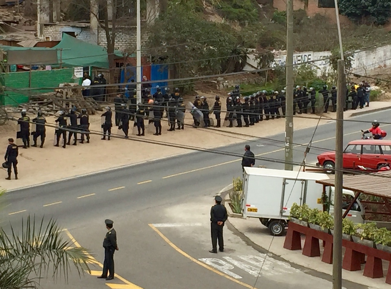 Riot police across the road