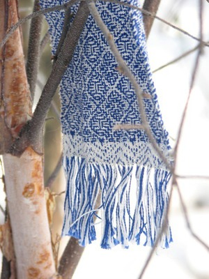 Shadow weave scarf in cotton