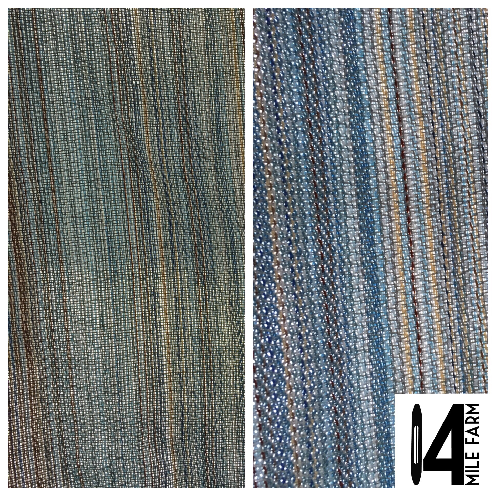I was surprised by just how much the color of the warp was revealed post wet finishing.  You can see the herringbone weave structure more clearly in the second photo as well.  Both photos were taken in front of a window in very similar light.  This change is due in part to the way that the wet finishing process lets the weft (grey here) really move three dimensionally going over and under the warp threads as it looses the two dimensionality imposed by tension on the loom.