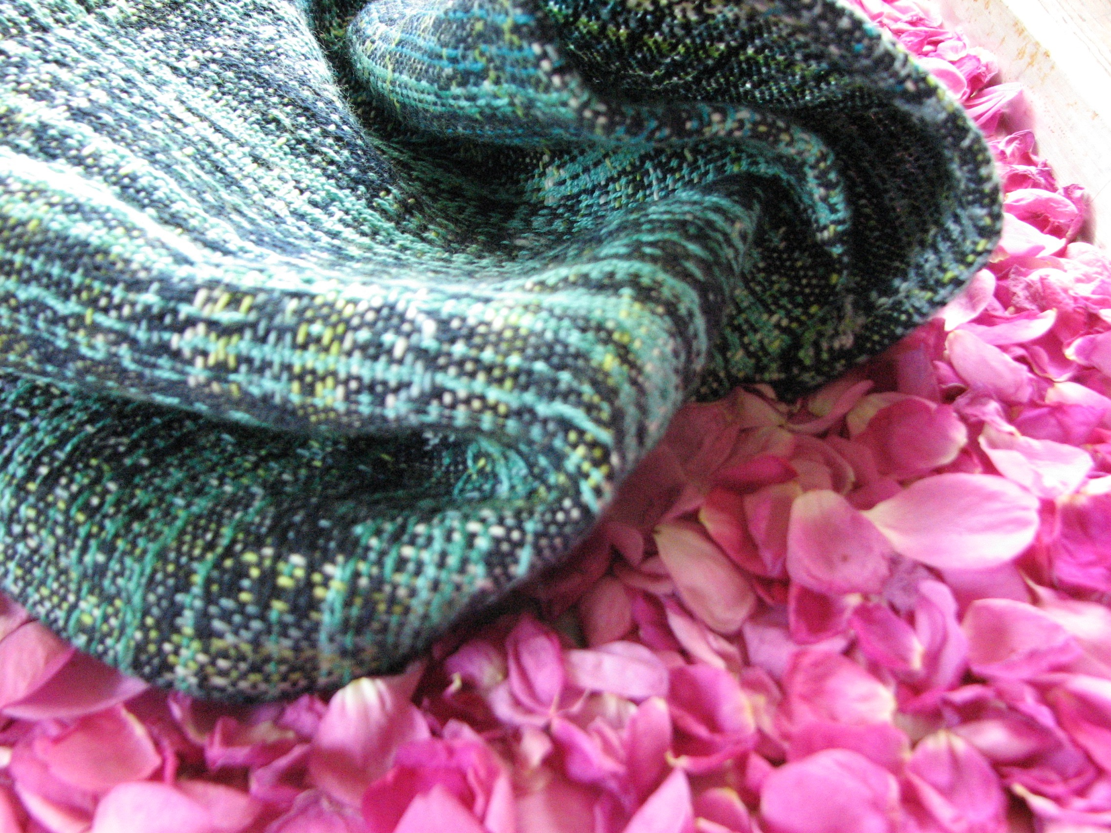 Handwoven cowl from Fire in the Sky, a wrap inspired by the aurora borealis | 14 Mile Farm Handweaving and Homesteading in Alaska