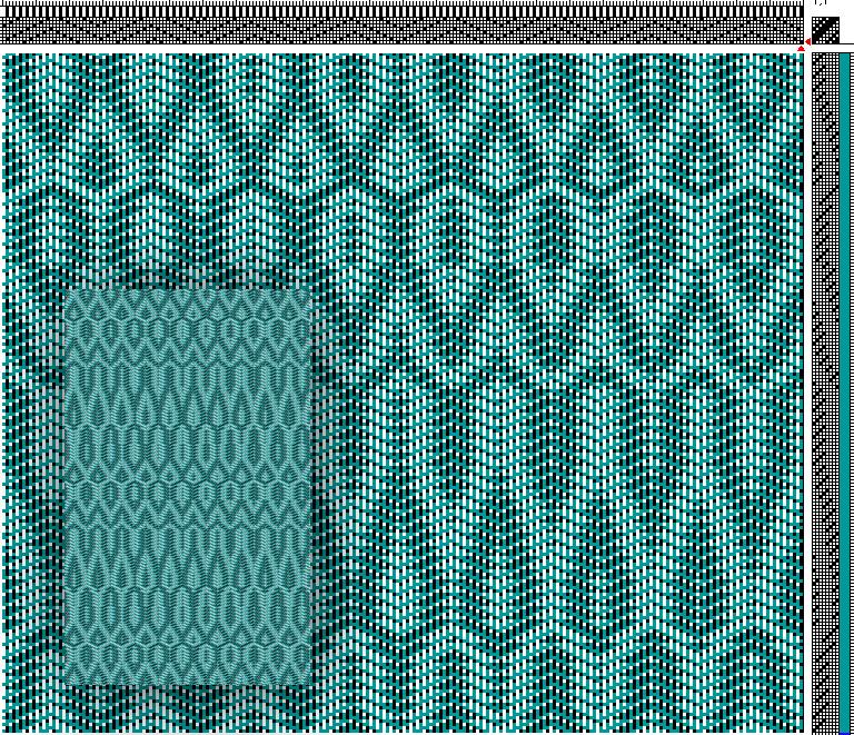 Draft credit to Eva Stoessl (https://evasweaving.wordpress.com/2012/02/14/8-shaft-woven-scarves-parallel-threading-networked-treadling/)