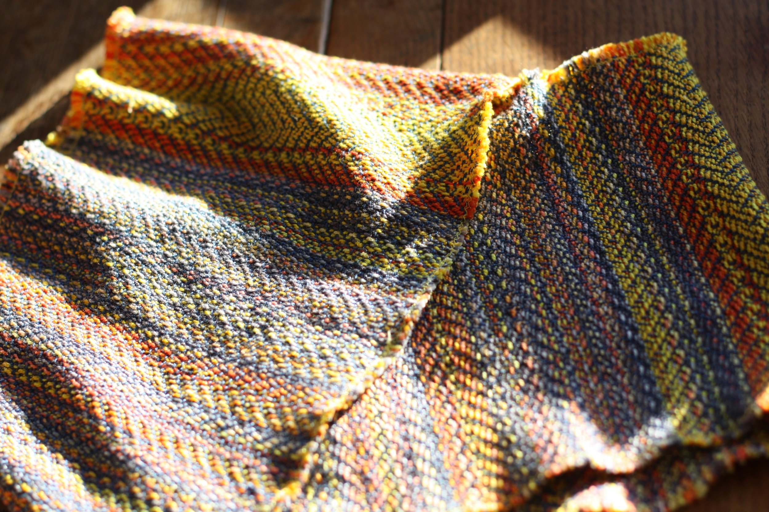 Snowbirding, an autumnal sunset handwoven cowl| 14 Mile Farm Handweaving and Homesteading