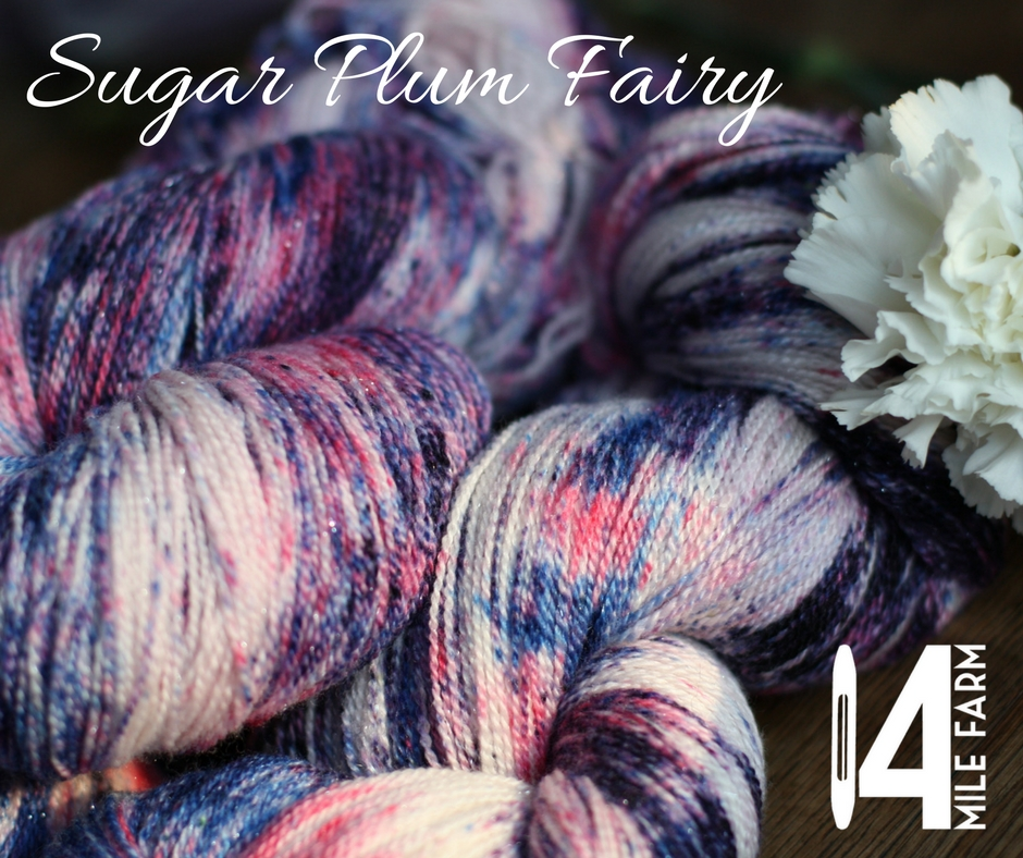 Ballerina sparkle skeins for Sugar Plum Fairy: pink, blue, and purple on a merino silk sparkle yarn | 14 Mile Farm Handweaving and Homesteading in Alaska