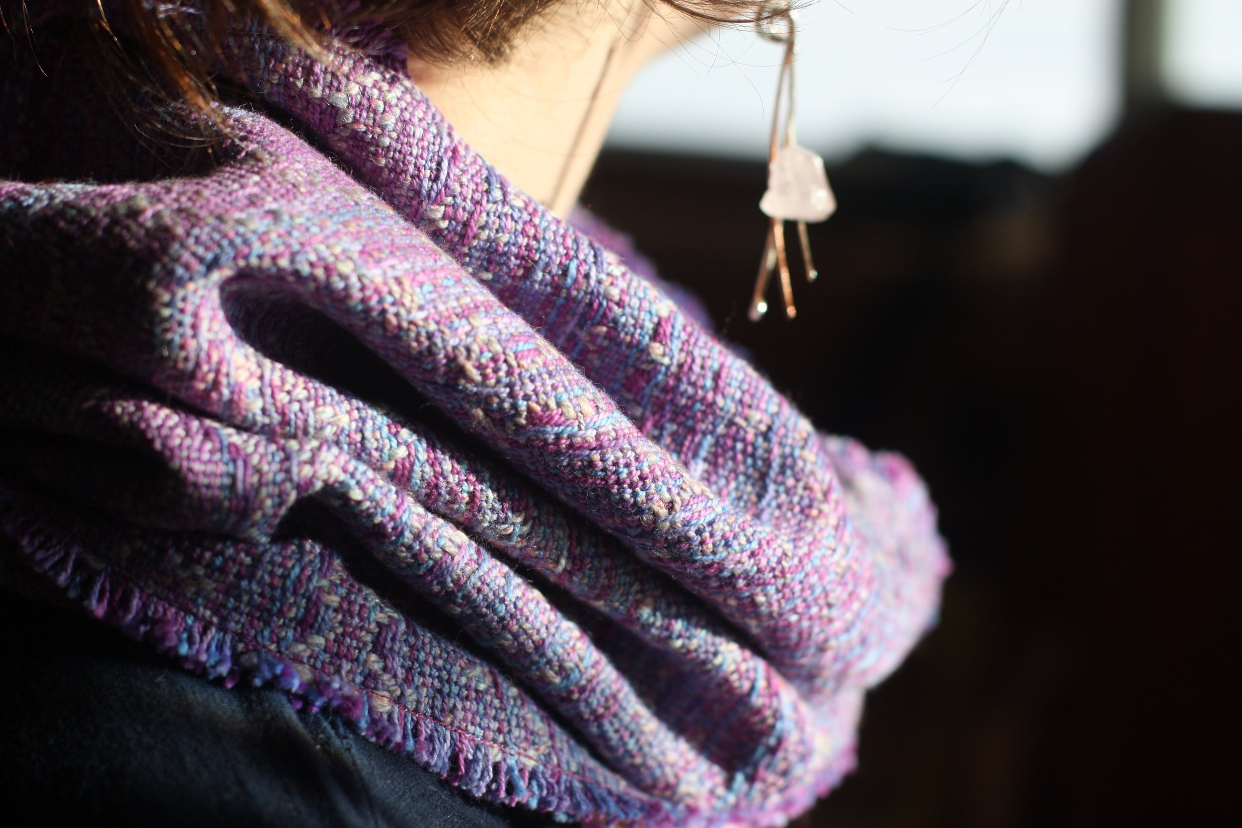 Handwoven cowl with handspun weft was auctioned to raise funds for the ACLU | 14 Mile Farm Handweaving and Homesteading
