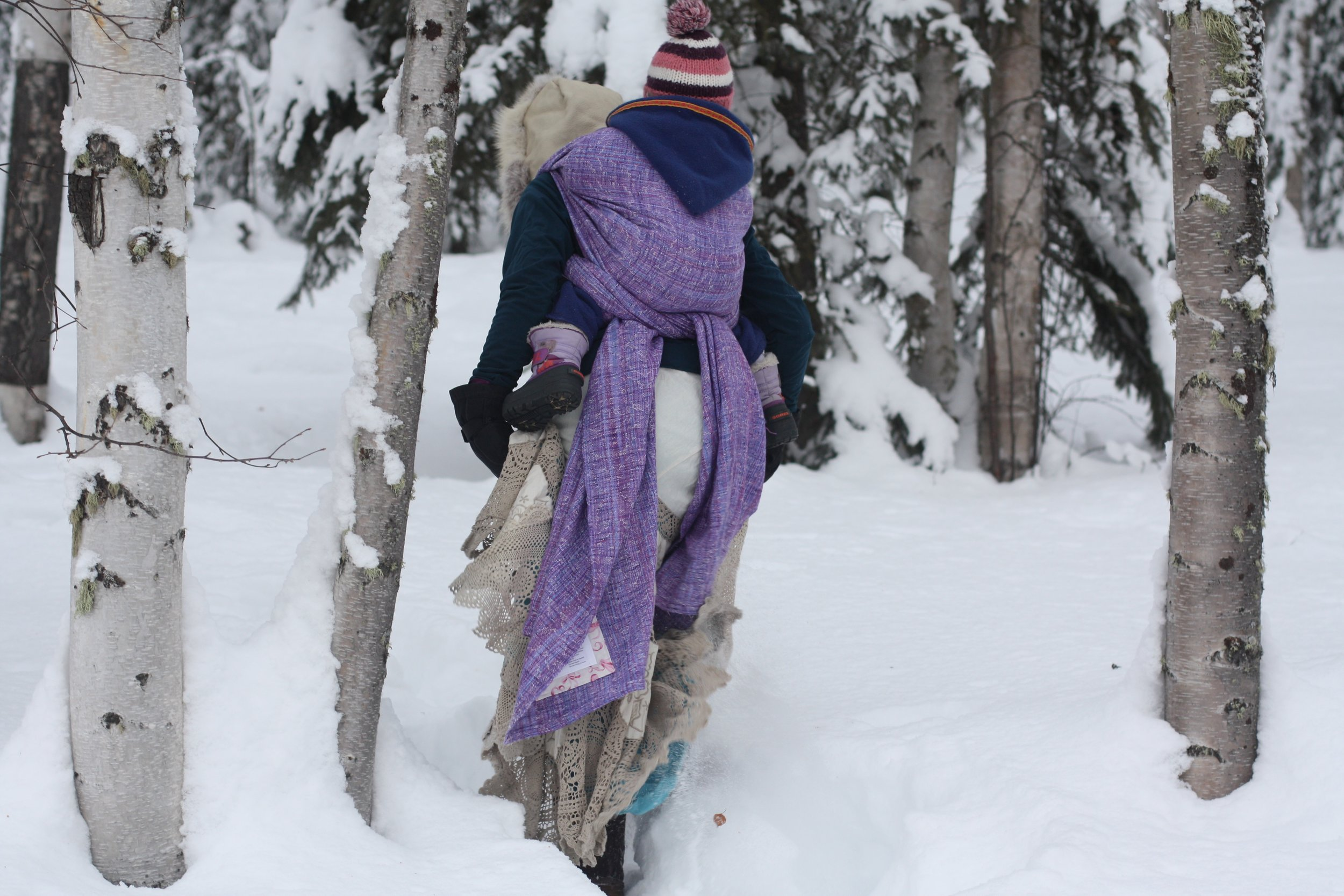 Sugar Plum Fairy goes for a walk in the winter woods | 14 Mile Farm Handweaving and Homesteading