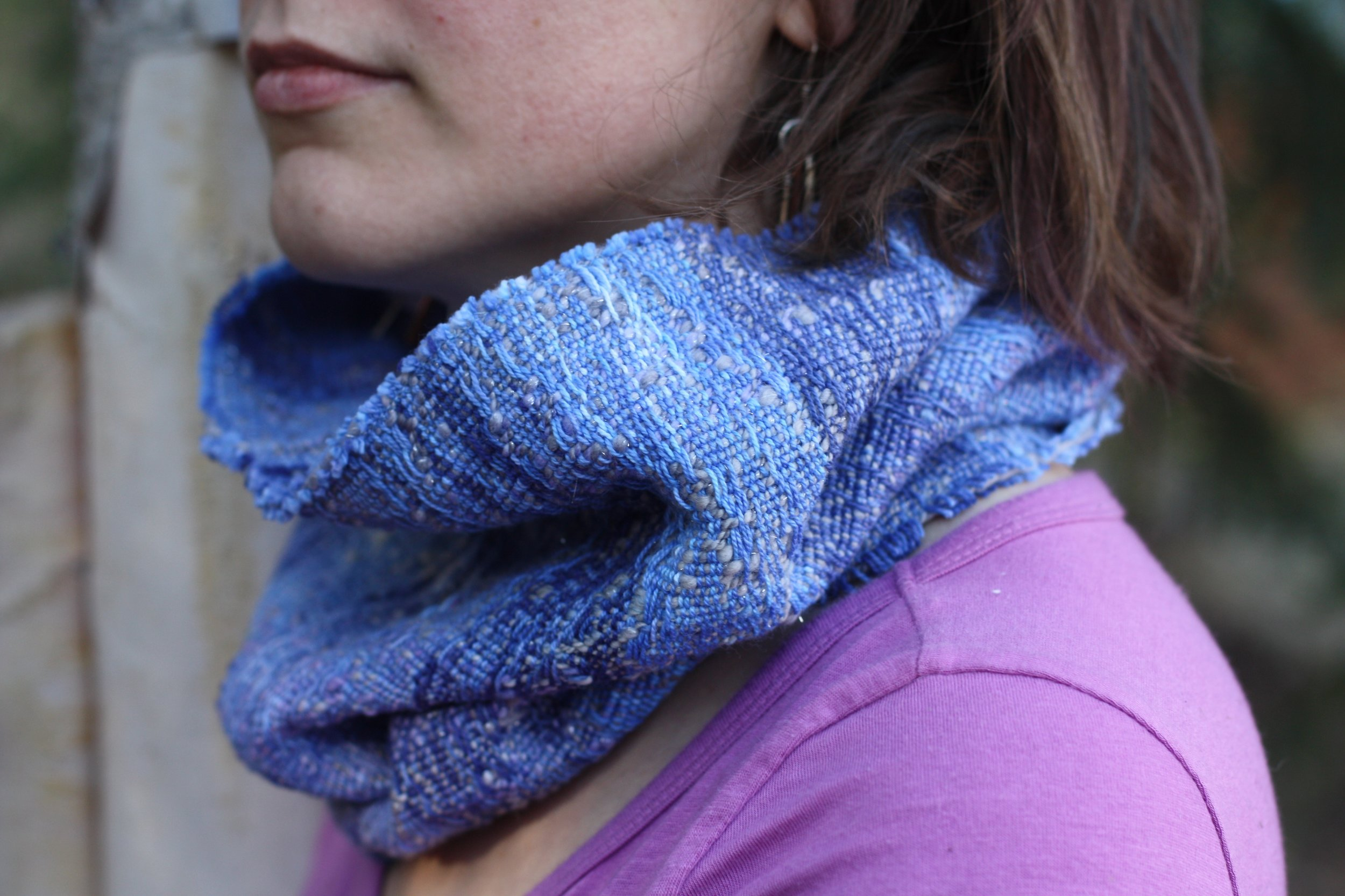Jack Frost cowl with handspun weft | Handweaving & Homesteading in Alaska