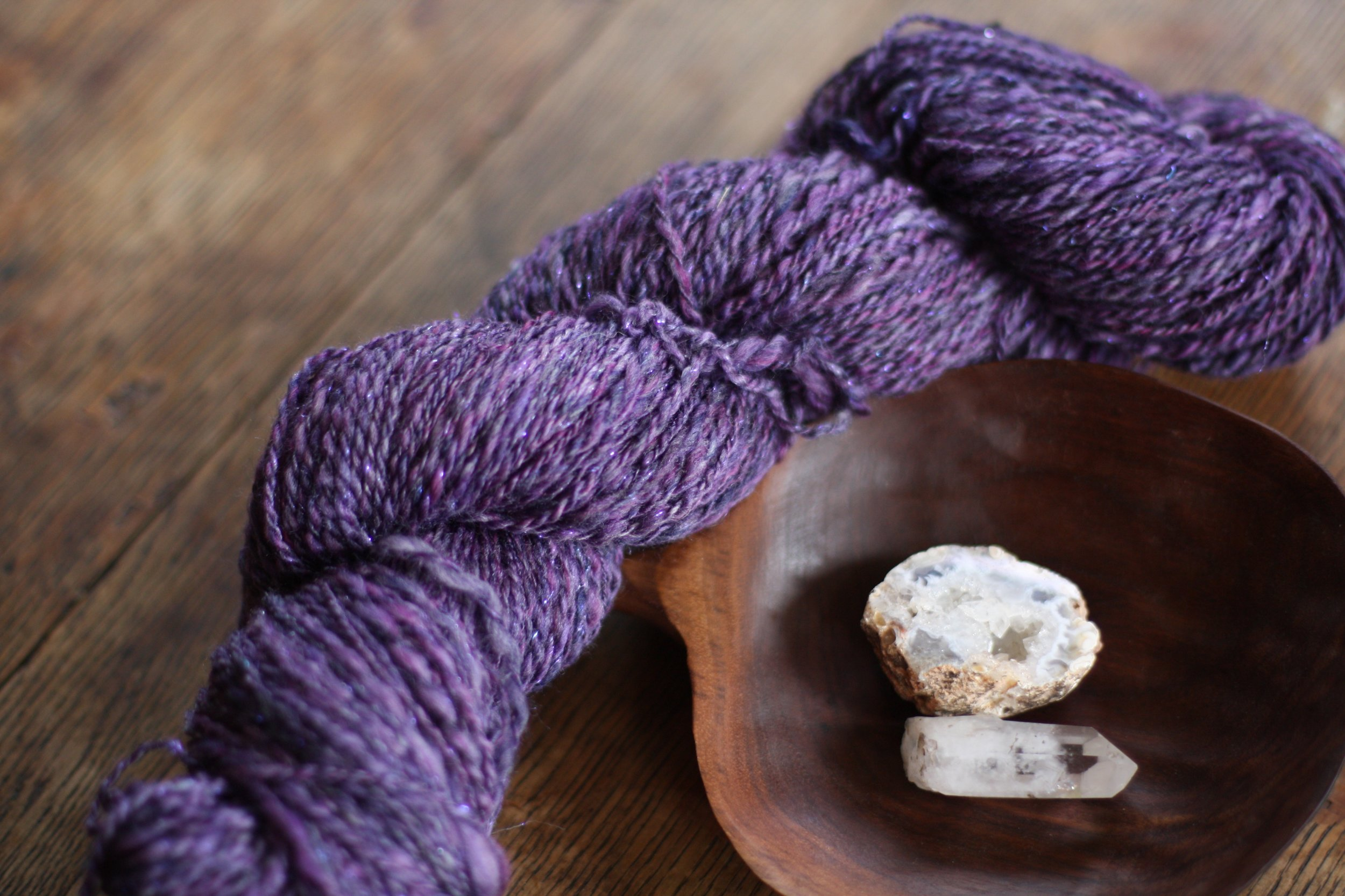 Hand spun Tanzanite yarn | 14 Mile Farm