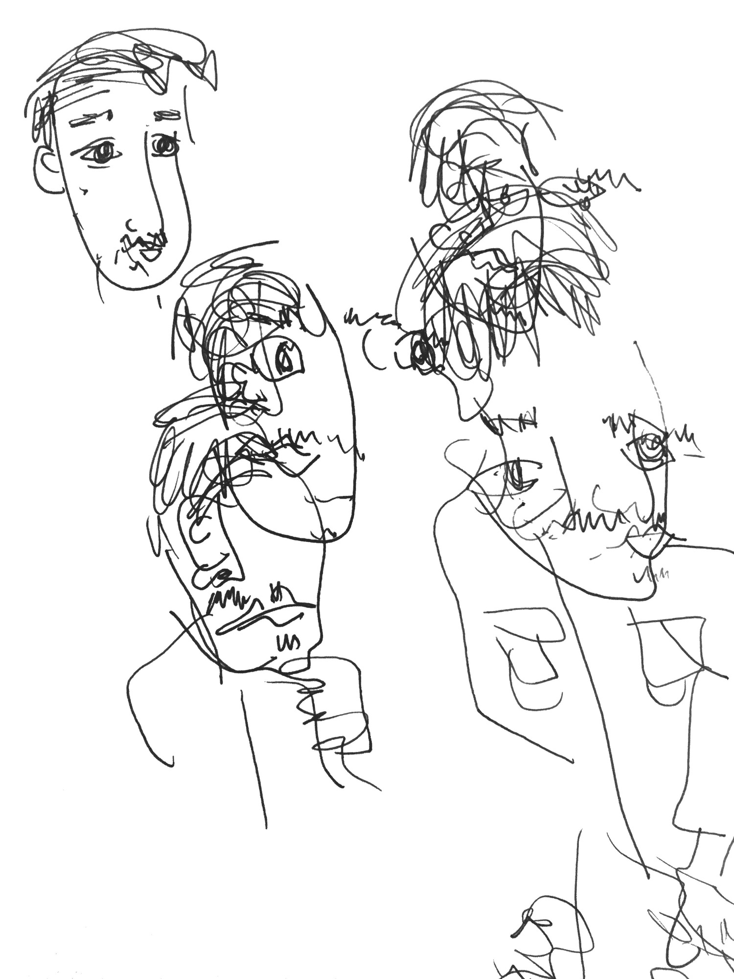 Future likes shapes and is still a mystery to me. His name isn't really Future but I feel like he's from the future. The top left image was a quick sketch after the blind session.