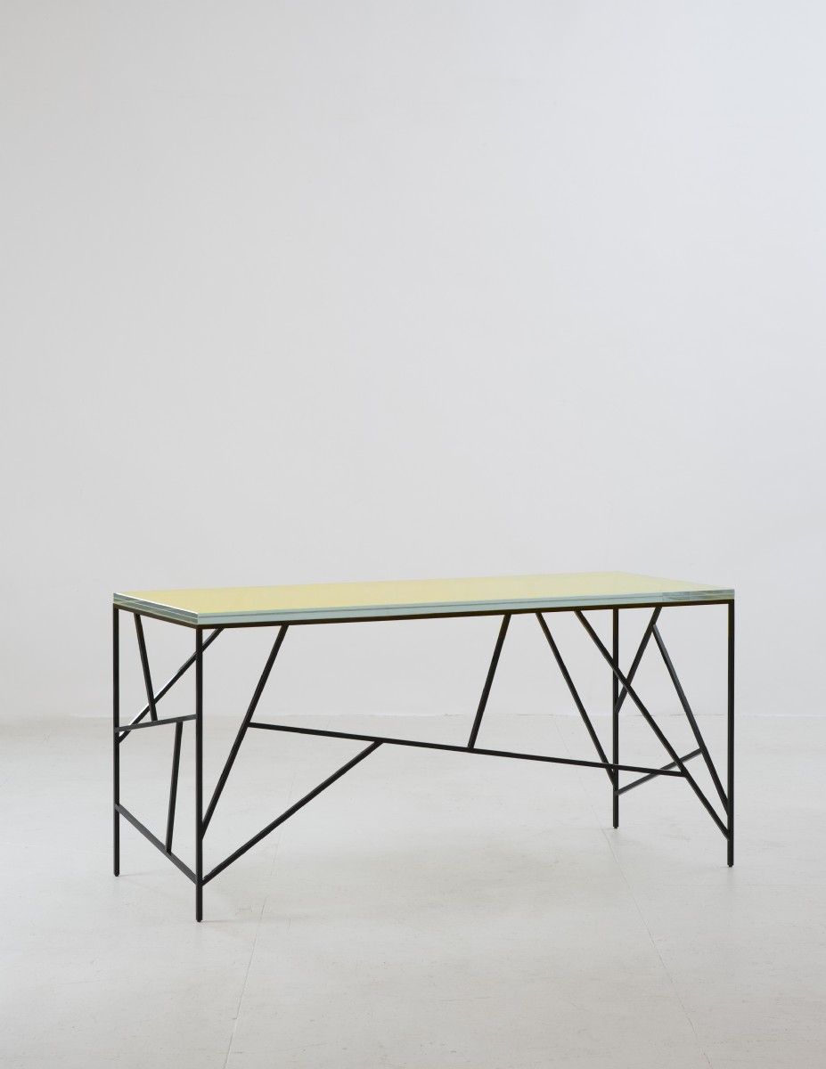 VINE DESK WITH GOLD GLASS TOP