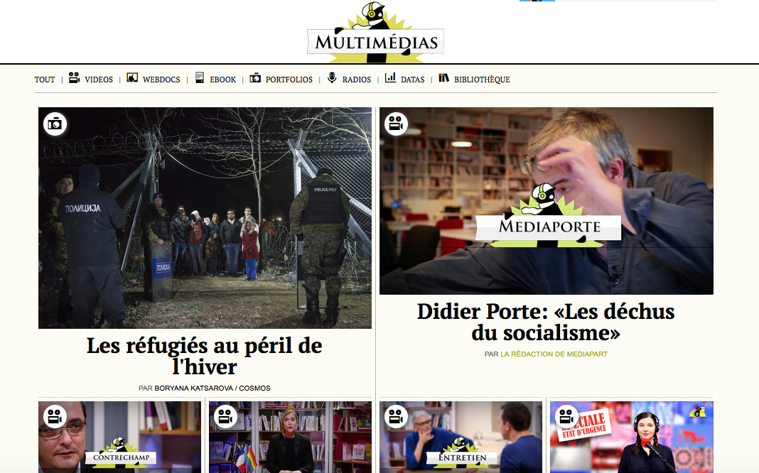 Mediapart France January 1, 2016: Les Refugies au peril de l'hiver