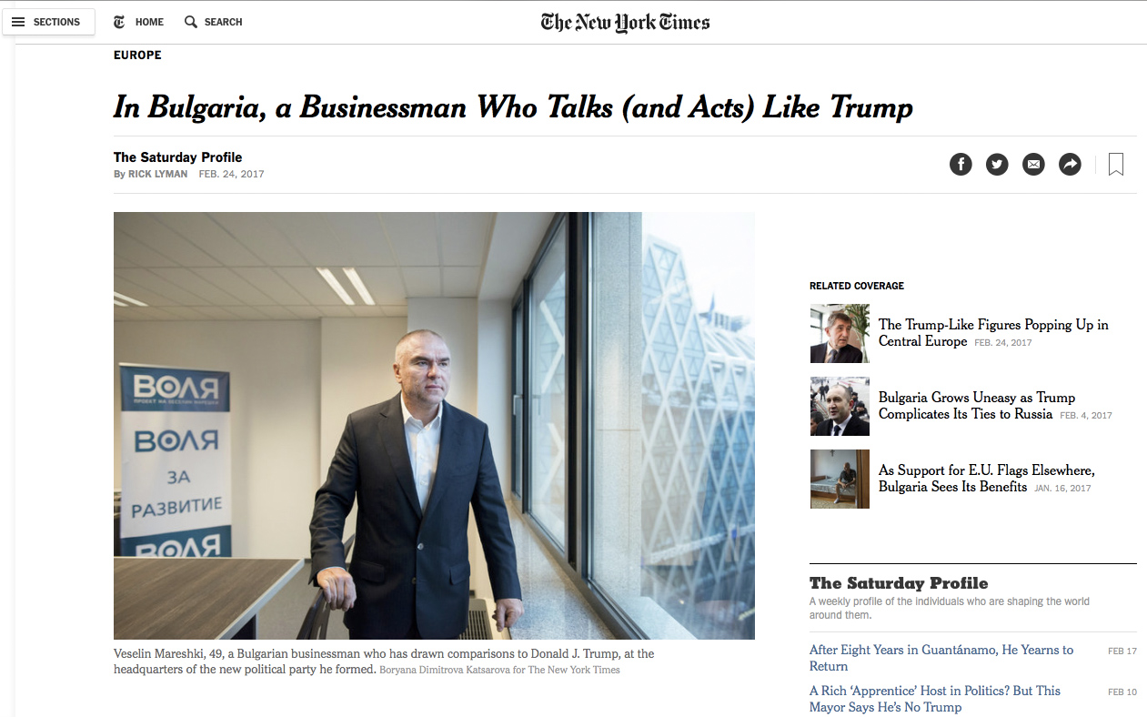NYT: In Bulgaria a Tycoon who talks ( and acts ) like Trump