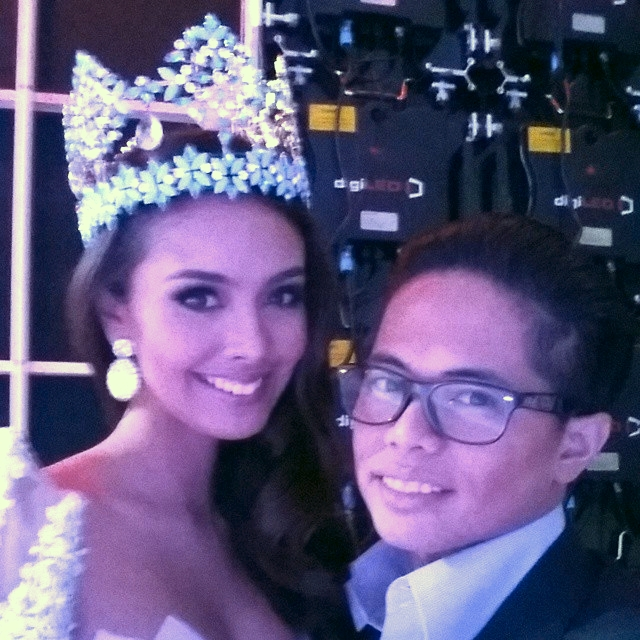 Miss World 2013, Megan Young and Bessie Besana in London, UK seconds before she pass on her crown to the next Miss World
