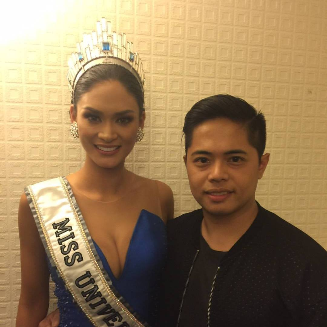 Miss Universe 2015, Pia Wurtbach and Bessie Besana in the Miss Universe suite after winning the crown in Axis Theatre in Planet Hollywood in Las Vegas, USA.